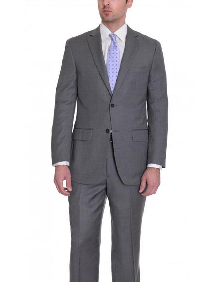 Birdseye Charcoal Gray Wool Suit
