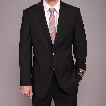 HL5623 Liquid Jet Black patterned 2-button Suit