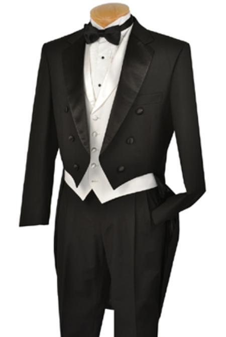 Liquid Jet Black Full Dress TailCoat Notch Collar 6 Buttons Pleated Slacks Pants + White lapeled Vest