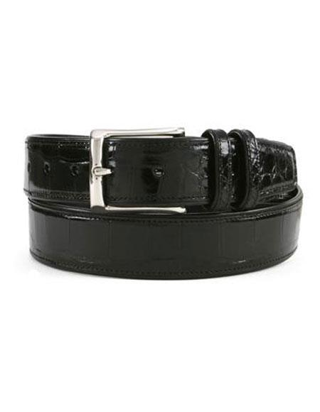 Product# JSM-6710 Mezlan Men's Black All-Over Genuine Alligator Silver Semi Gloss Buckle Skin Belt