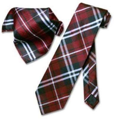 Product# NQ7904 Liquid Jet Black Burgundy ~ Maroon ~ Wine Color White NeckTie & Handkerchief Matching Tie
