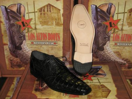 Product# RD543 Genuine Authentic Liquid Jet Black cai ~ Alligator skin Crocodile ~ Alligator skin Belly Dress Shoe