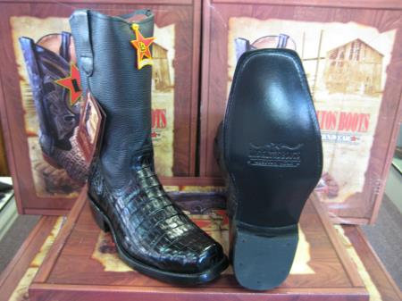 Product# 6UB3 Authentic Los altos Liquid Jet Black cai ~ Alligator skin Belly Western Cowboy Biker Motorcycle Boot (EE)
