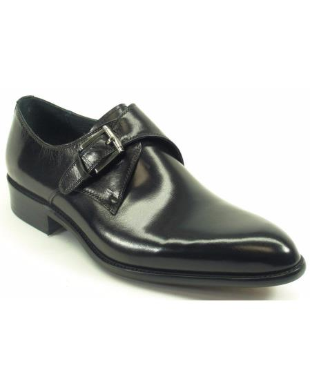 Carrucci Men's Black Genuine Calfskin Leather With Monk Strap Fashion Shoes