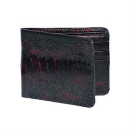 Product# KA7802 Wild West Boots Wallet-Black Cherry Genuine Exotic Ostrich Leg