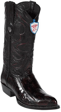 Product# JK6735 Wild West Liquid Jet Black Cherry Ostrich Leg Cowboy boots