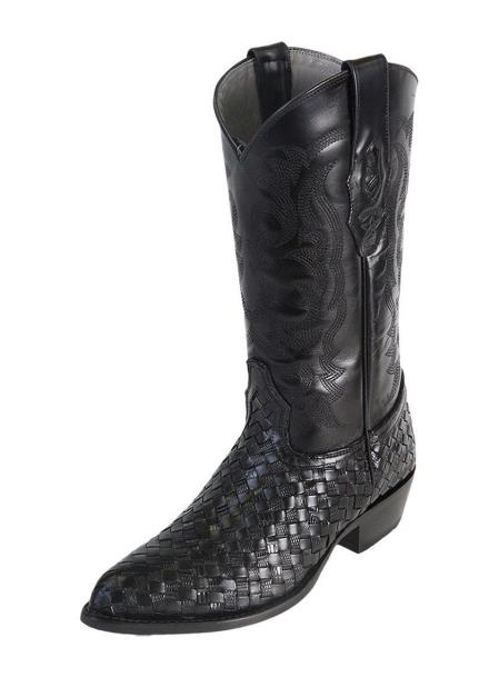 Product# JSM-4078 Men's J Toe Los Altos Genuine Basket Weave Teju Lizard Black Boots Handcrafted