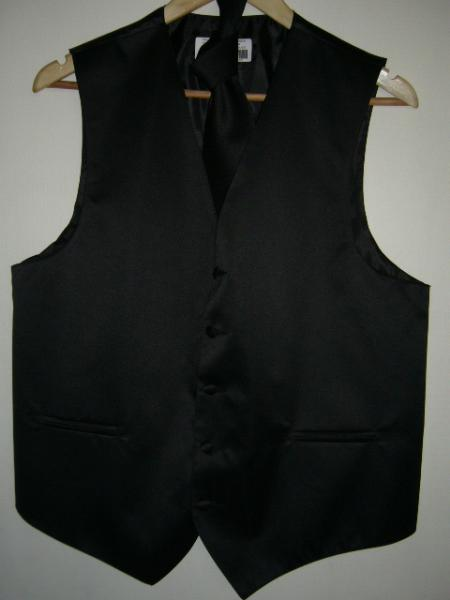 Product# KA1299 Liquid Jet Black VEST & TIE SET