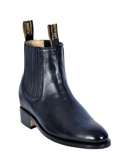 Product# JSM-5560 Los Altos Charro Botin Short Ankle Deer Black Leather Boots For Men