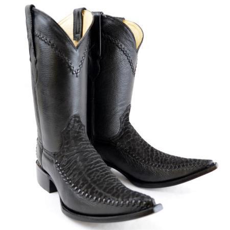 Product# PN-72 New Reg: $795 discounted Online Sale clearance diamond Boots Original Liquid Jet Black Deer Skin And Bull Neck