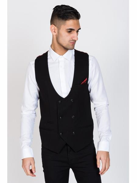 Product# MO467 KELLY - Black Double Breasted Waistcoat