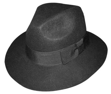 Product# L629-R New 100% Wool Fabric Fedora Trilby Mobster suit hat Liquid Jet Black