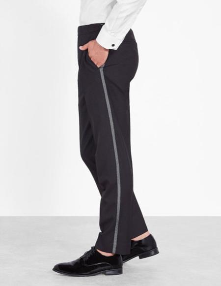 Product# CH2409 Mens Classic Black Slim Fit tuxedo Flat Front Pants