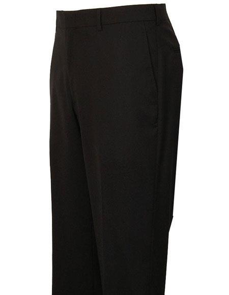 Product# JSM-4297 Mens Black Stylish Flat Front Atticus Classic Fit Wool Pant