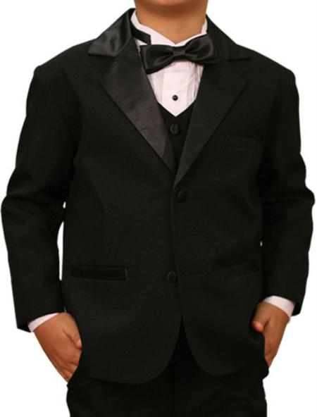 Product# KA 7770 High Quality Solid Liquid Jet Black Tuxedo Formal Kids Boys Suits For Teenagers for Online