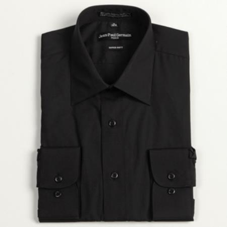 Product# PV-7514 Liquid Jet Black Convertible Cuff Big & Tall Dress Shirt