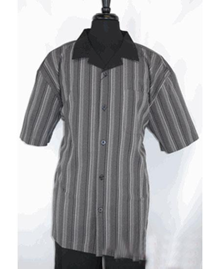 Men's Black ~ Gray 5 Buttons Stripe Pattern Short Sleeve Shirt