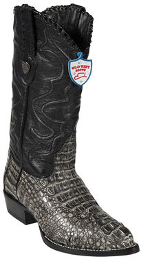 Product# FT7846 Wild West Rustic Liquid Jet Black J-Toe cai ~ Alligator skin Hornback Cowboy Boots