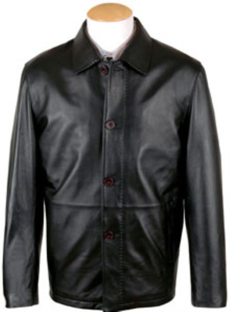 Pen Stitching Lamb Leather Button Coat Liquid Jet Black Available in Big and Tall Sizes