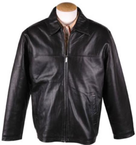 Liquid Jet Black Lamb Leather Zip JD Jacket with Removable Liner Available in Big and Tall Sizes