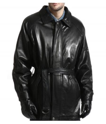 Product# PN-K7 Lambskin Leather Belted 3/4 Coat With zip-Out Liner Available in Big and Tall Sizes