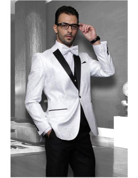 Product# JSM-1207 Men's Black Lapel Floral Unique Shiny Fashion Prom Tuxedo Paisley Sequin Shiny Flashy Satin Stage Dance White Sport coat