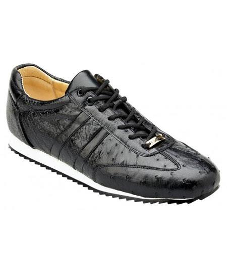 Mens Black Leather Lace