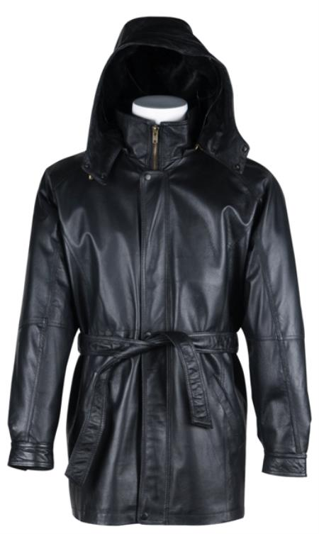 Product# 22348 Long Leather Duster Trench Coat Liquid Jet Black Available in Big and Tall Sizes