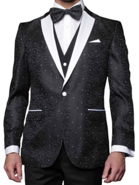 Product# NK89 Jacquard Pattern Modern Fit Fashion Suit Liquid Jet Black