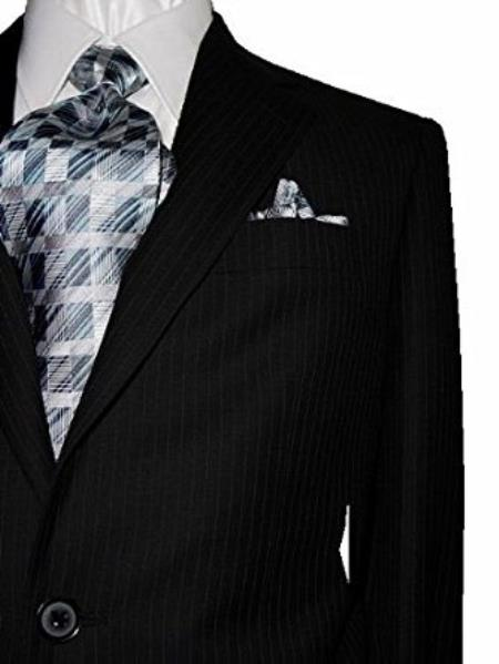 Product# SM4887 Bertolini Two Button Black with Navy Pinstripes Pattern Wool & Silk Blends Suit