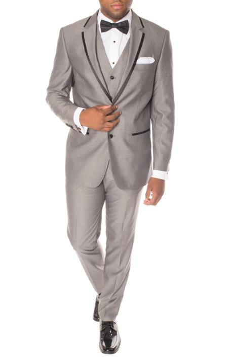 Grey Tuxedo - Gray Tuxedo Mens Sequin Paisley Dinner Jacket Tuxedo Black and Silver Suit