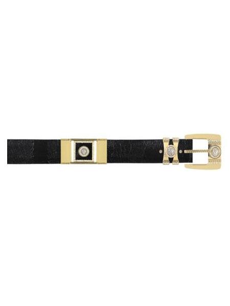 Product# US2X2 Authentic Los altos Liquid Jet Black Genuine Ostrich Leg With Rhinestone / Gold Plated Brackets Belt