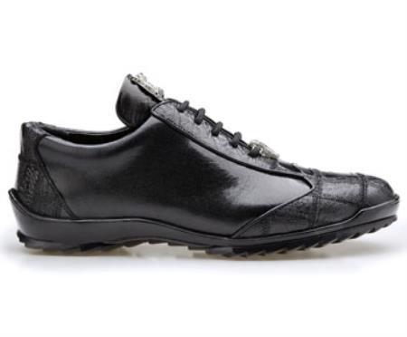 Product# JSM-2054 Authentic Belvedere Exotic Skin Brand Genuine Ostrich and Soft Calf Leather Lining Black Shoe