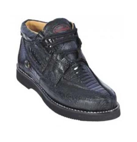 Product# KA1518 Liquid Jet Black Genuine All-Over Ostrich Leg trendy casual Shoes for Online