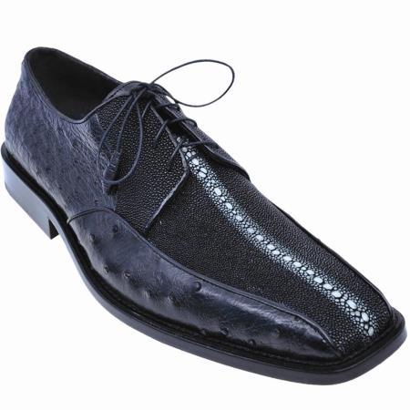 Product#F680 Stingray skin and Ostrich Oxford Shoe Liquid Jet Black