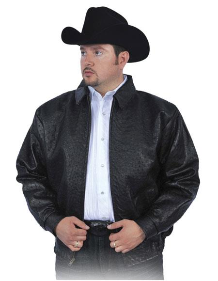 Product# GD1029 G-Gator Men's Black All Over Genuine Ostrich Pull Up Zipper Jacket