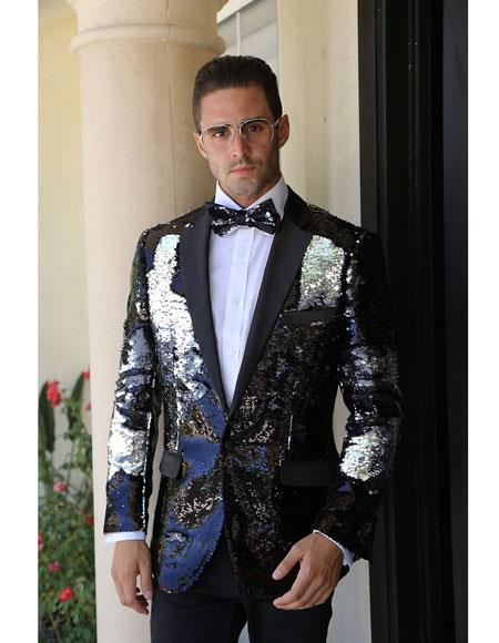 Product# CH1859 Mens Black fashion paisley print tuxedo Sequin ~ Unique Shiny Fashion Prom ~ Flashy ~ Shark skin Blazer Dinner Jacket