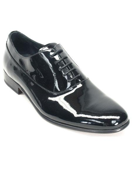 Product# JSM-5579 Men's Black Genuine Patent leather oxford Tuxedo Formal Dress Mens Shoes