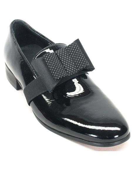 Mens Black Genuine Patent