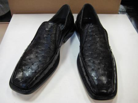 Product#BQ923 Genuine Authentic Liquid Jet Black Full Quill Ostrich Dress Shoe