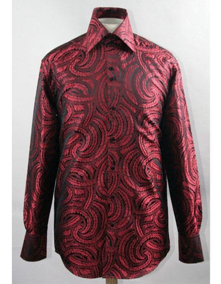 Men's Black/Red High Collar Fashion ~ Shiny ~ Silky Fabric Braid Swirl Pattern Shirts