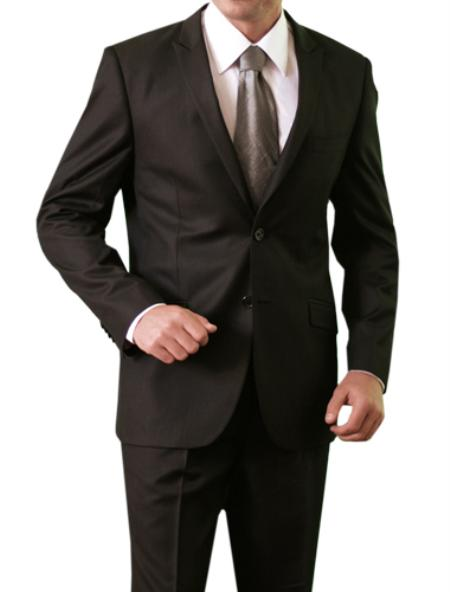 M118S000 Shiny Shark Skin Solid 2 Button Style Front Closure Slim narrow Style Fit Suit