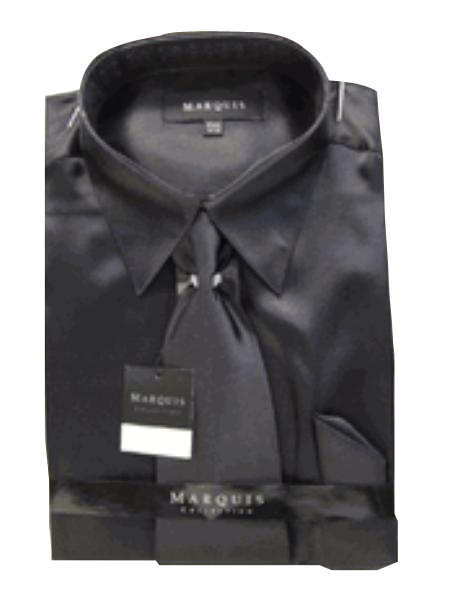 Product# NK121 New Liquid Jet Black Satin Dress Shirt Tie Combo Shirts