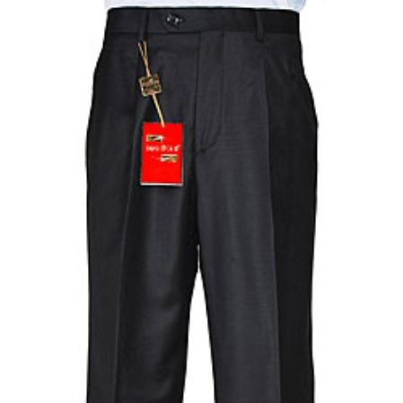 Liquid Jet Black Single-pleat Wool Fabric Dress Pants