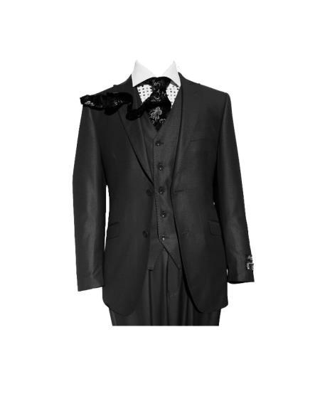 Product# SM444 Liquid Jet Black Three Piece Slim narrow Style Fit Vested Suit Peak Lapel