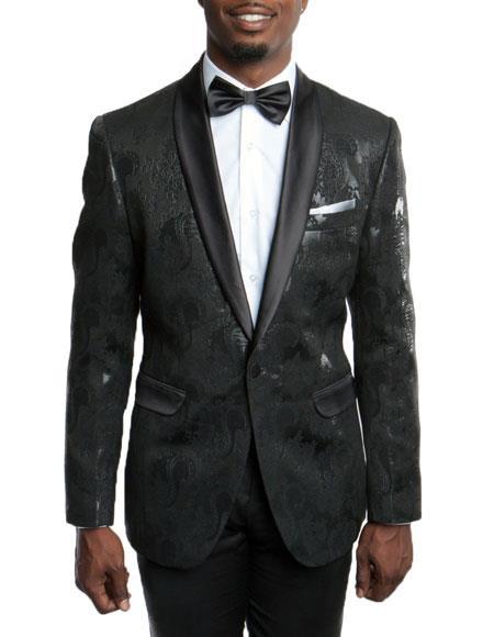 Product# JSM-5047 Men's Slim Fit Tuxedo Jacket 100% Wool Blazer Fancy Floral Pattern Large Shawl Lapel Black