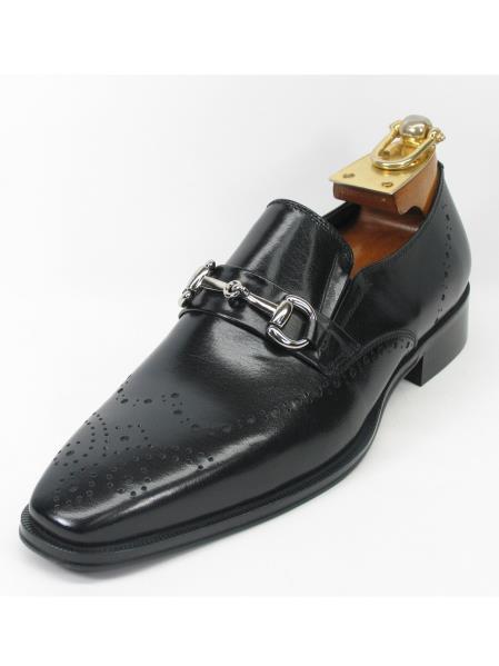 Men's Slip On Style Fashionable Carrucci Shoes Black