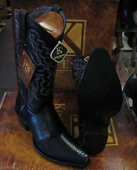 Product# SS-8474 King Exotic Boots Liquid Jet Black Snip Toe Genuine Stingray skin Western Cowboy Boot