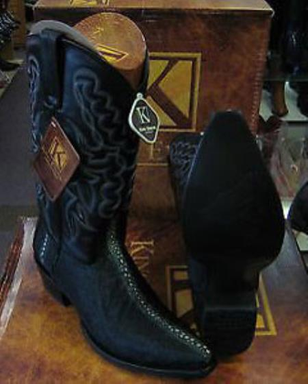 King Exotic Boots Liquid Jet Black Snip Toe Genuine Stingray skin Western Cowboy Boot