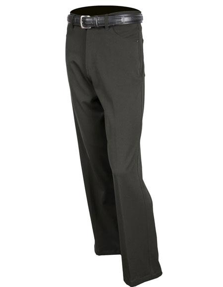 Product# JSM-5385 Mens Black Stretch Jean Solid Pattern Flat Front Dress Pants